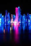夜喷泉 免版税库存照片