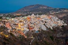 夜圣托里尼的,希腊2 Fira全景 免版税图库摄影