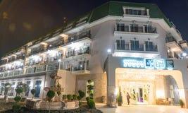 夜在保加利亚语的Kranevo一家五星旅馆里 免版税库存照片