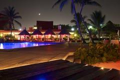 夜在墨西哥旅馆,墨西哥里 免版税库存照片