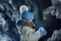 夜在多雪的森林里 图库摄影