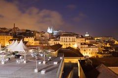 夜在市里斯本在葡萄牙 免版税库存照片