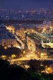夜在市巴塞罗那 图库摄影