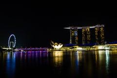 夜在新加坡 库存照片