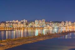 夜在新的威斯敏斯特加拿大 免版税图库摄影