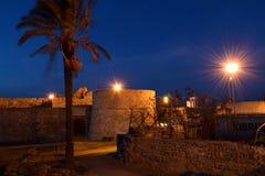 夜在法马古斯塔港口,塞浦路斯 免版税库存照片