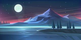 夜在湖的山风景 库存照片