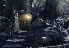 夜在神仙的森林里 库存照片