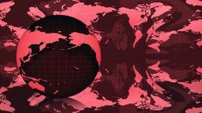夜在红色背景的地球地球 库存例证