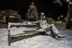 夜在菲利普斯塔德,瑞典镇  免版税库存照片
