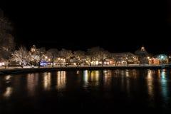 夜在菲利普斯塔德,瑞典2017年12月镇  库存照片
