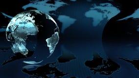 夜在蓝色背景的地球地球 皇族释放例证