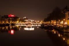 夜在阿姆斯特丹 免版税库存图片