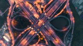 夜在4方式中止街道交叉点圈子环形交通枢纽的城市交通Hyperlapse timelapse在曼谷,泰国 4K UHD horizo 股票录像