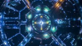 夜在4方式中止街道交叉点圈子环形交通枢纽的城市交通Timelapse在曼谷,泰国 4K UHD水平的天线 股票录像