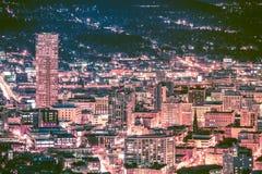 夜地平线的波特兰 免版税库存照片