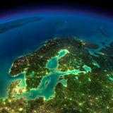 夜地球。欧洲。斯堪的那维亚 库存照片