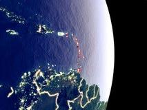 夜地球上的加勒比 免版税库存图片