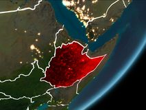 夜地球上的埃塞俄比亚 库存例证