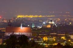 夜场面在克拉科夫,波兰 库存照片