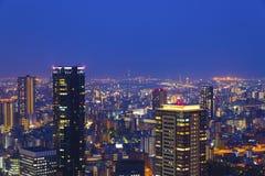 夜场面在大阪,日本 免版税库存图片