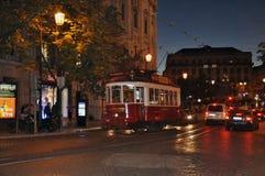 夜场面在里斯本 库存图片