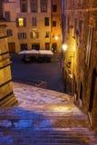 夜场面在锡耶纳,托斯卡纳,意大利 免版税库存图片