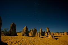 夜场面在Nambung国家公园 免版税库存照片