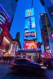 夜场面时常正方形,曼哈顿,纽约 免版税库存照片