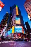 夜场面时常正方形,曼哈顿,纽约 库存照片