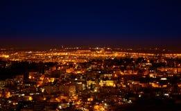 夜城市光在耶路撒冷 库存图片