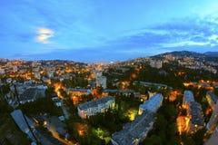 夜城市光视图 图库摄影