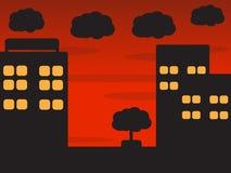 夜城市动画片 免版税库存照片