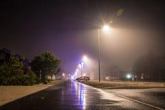 夜城市圣诞节路 免版税库存照片