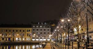 夜城市在挪威 库存照片