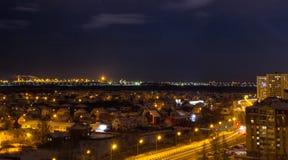 夜城市在10月 库存照片
