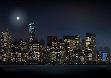 夜城市地平线例证 库存照片