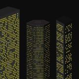 夜城市摩天大楼 库存照片