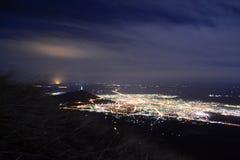 夜城市的全景 五山城,俄罗斯 库存图片
