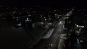 夜城市的航拍 冬天村庄摄影在俄罗斯 股票视频
