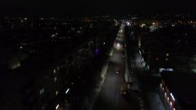 夜城市的航拍 冬天村庄摄影在俄罗斯 股票录像