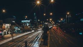 夜城市的长的曝光时间流逝 影视素材