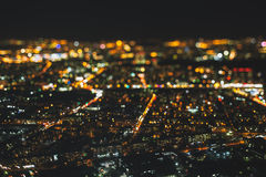 夜城市真实的掀动转移射击从高峰的 库存照片