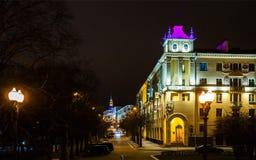夜城市米斯克 免版税库存图片
