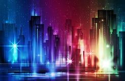 夜城市背景 也corel凹道例证向量 免版税库存照片