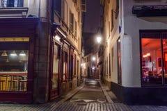 夜城市街道史特拉斯堡 库存照片