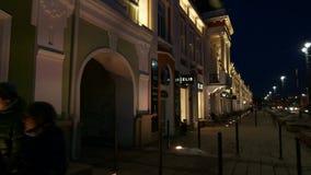 夜城市鄂木斯克 被更新的历史的Lenina街道 Timelapse股票英尺长度录影 股票录像
