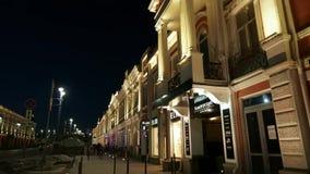 夜城市鄂木斯克 被更新的历史的Lenina街道 Timelapse股票英尺长度录影 影视素材