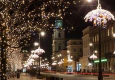 夜城市,华沙,波兰 库存照片