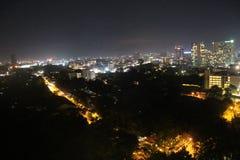 夜城市,夜芭达亚,泰国看法  库存照片